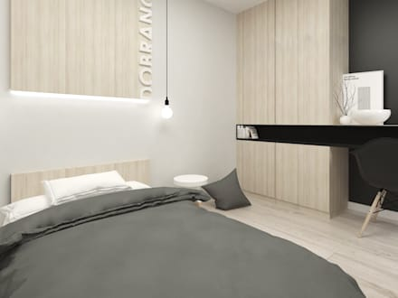 Schwarz-Weiß-Haus: minimalistische Schlafzimmer von FOORMA