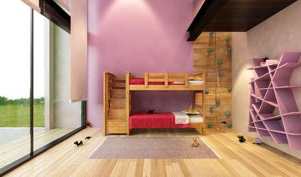 Recámara niña con pared de escalar: Recámaras infantiles de estilo moderno por AParquitectos