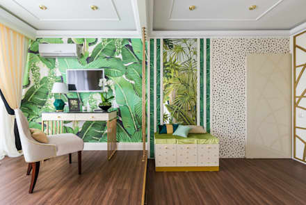 tropical Media room by Tony House Interior Design & Decoration