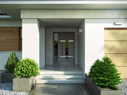 Wizualizacja projektu domu Decyma 5: styl nowoczesne, w kategorii Domy zaprojektowany przez Biuro Projektów MTM Styl - domywstylu.pl