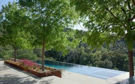 Aussenanlage mit der Natur verbunden.: moderner Pool von Paul Marie Creation