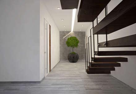 Corredor : Corredores, halls e escadas modernos por Tiago Martins - 3D