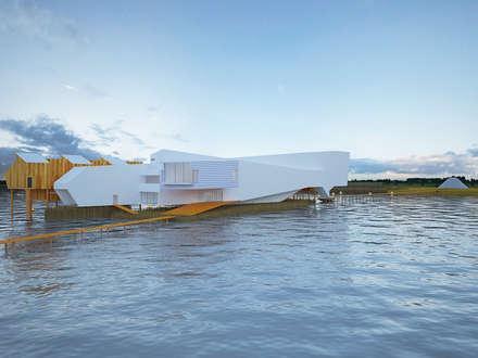 Hotel W M ARTS: Terraços  por Arquitecto Aguiar
