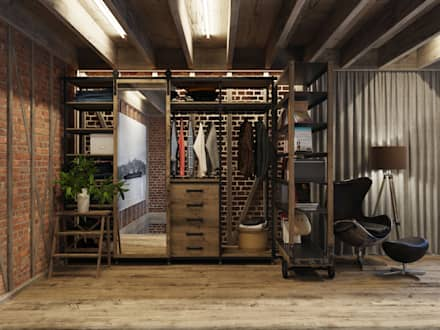 industrial Dressing room by Anton Medvedev Interiors