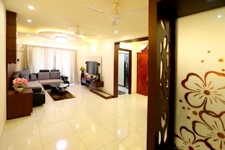 Independent house Manglore..:  Corridor & hallway by Ashpra Interiors