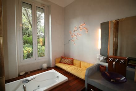 salle de bain avec vue sur la verdure salle de bains de style par lm