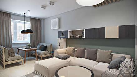 Визуализация современной квартиры-студии: Гостиная в . Автор – студия визуализации и дизайна интерьера '3dm2'