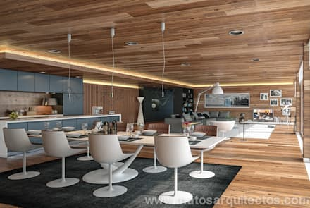 House by River side: Salas de jantar modernas por Matos Architects