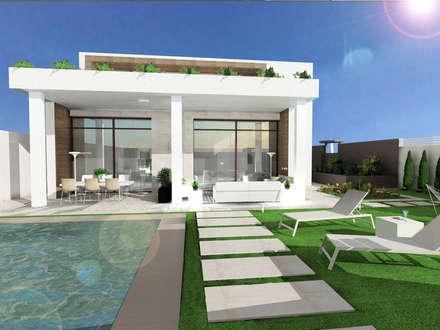 Perspectiva piscina: Piscinas de estilo mediterráneo de CARMAN INTERIORISMO