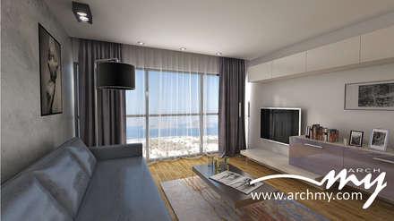 ARCHMY Mimarlık – Bodrum K-S Evi: minimal tarz tarz Oturma Odası
