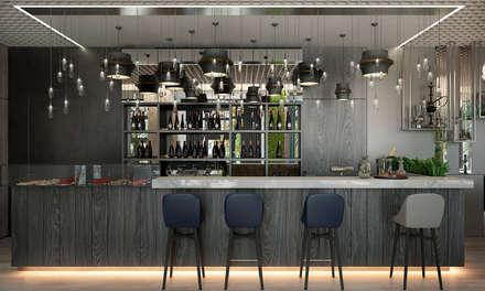 Зона бара ресторана: Стены в . Автор – U-Style design studio