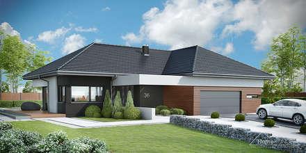 HomeKONCEPT 36 - elewacja frontowa: styl nowoczesne, w kategorii Domy zaprojektowany przez HomeKONCEPT | Projekty Domów Nowoczesnych