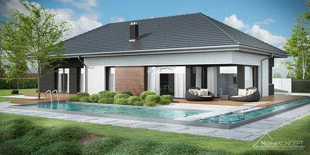 HomeKONCEPT 36 - elewacja ogrodowa: styl nowoczesne, w kategorii Domy zaprojektowany przez HomeKONCEPT | Projekty Domów Nowoczesnych