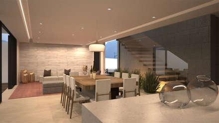 Vista de sala, comedor y cocina: Comedores de estilo moderno por Nova Arquitectura
