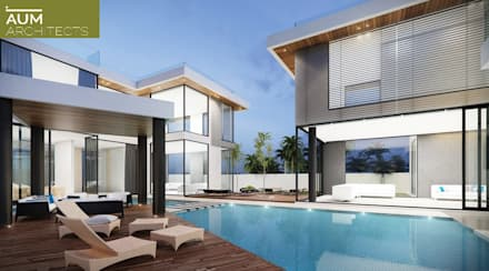 24000 sqft (2230 sqm) double Villa in Dubai: modern Pool by Aum Architects