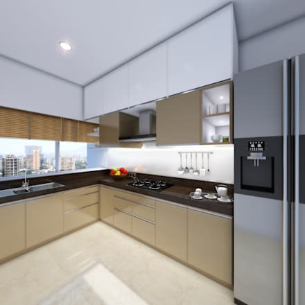 Marvelous 22 Floors Residential Building: Minimalistic Kitchen By Aum Architects
