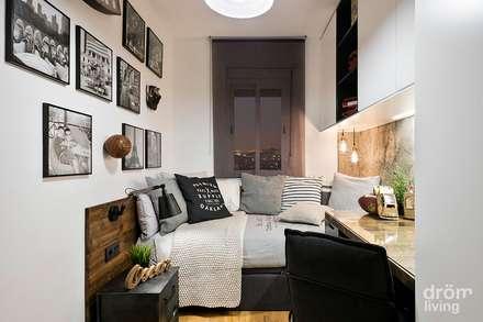 DORMITORIO JUVENIL: JUEGO DE GRISES: Dormitorios de estilo industrial de Dröm Living