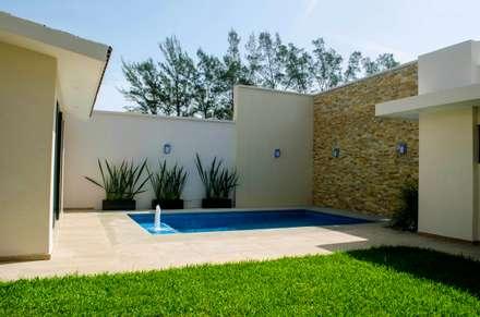 Jardin y alberca: Jardines de estilo moderno por ARKOT arquitectura + construcción