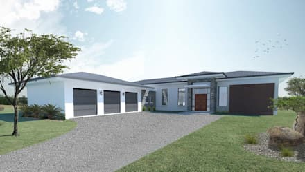 View of the entrance and garages: modern Houses by Architecture for a Change