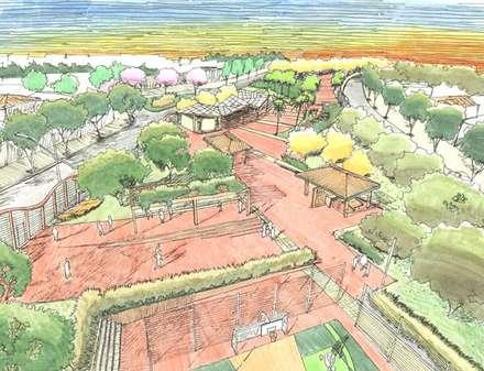 Projectos de Arquitectura Paisagista: Locais de eventos  por ECOSSISTEMAS; Áreas Verdes e Sistemas de Rega.