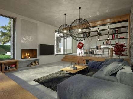 Wohnbereich: moderne Wohnzimmer von GRID architektur + design