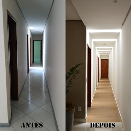 Antes e Depois do corredor: Corredores, halls e escadas modernos por CARDOSO CHOUZA ARQUITETOS