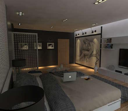RENDER DE RECAMARA.: Recámaras de estilo minimalista por TCA Torres Chapa Arquitectos