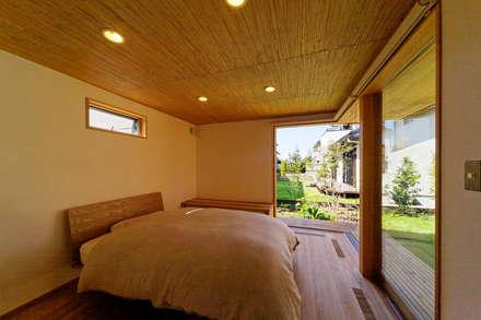 下古山・中庭のある家: 中山大輔建築設計事務所/Nakayama Architectsが手掛けた寝室です。
