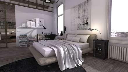Industrial bedroom: Dormitorios de estilo industrial de Blophome