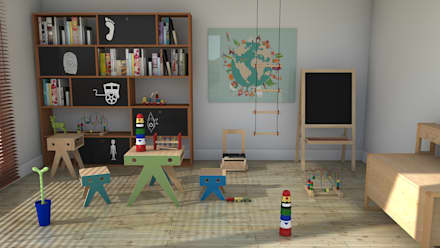 Playroom: Dormitorios infantiles de estilo moderno de Blophome