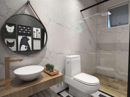 lavabo descolado: Banheiros escandinavos por Studio M Arquitetura