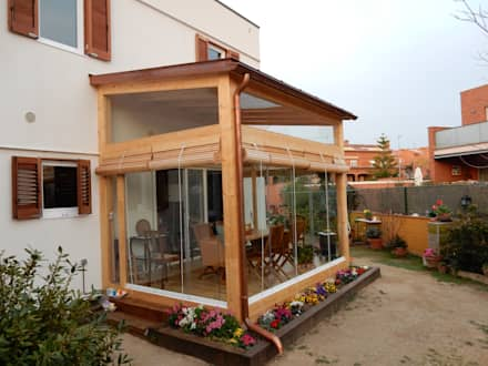 Cerramiento terraza: Casas de estilo moderno de Lignea Construcció Sostenible