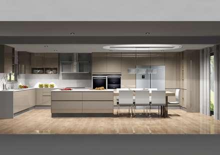 Cozinha com grande amplitude: Cozinhas modernas por Amplitude - Mobiliário lda