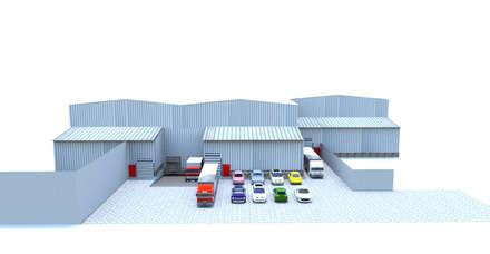 Imagen 3d Proyecto final Bodegas La Dolores Colombia: Garajes de estilo clásico por Crearquitech S.A.S