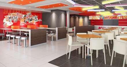 KFC TOMASAL: Espacios comerciales de estilo  por ARKILINEA