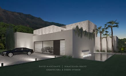 Garaje (nocturna) - Vivienda Costa del Sol: Garajes de estilo minimalista de David Marchante  |  Inmaculada Bravo