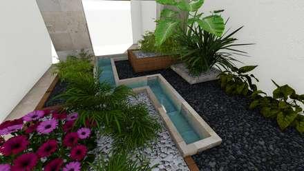jardin interior: Jardines de estilo minimalista por A-MORPHO     ARQUITECTOS & PROYECT