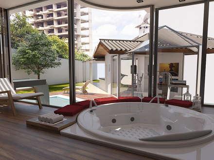 Spa de estilo ecléctico por Jacqueline Fumagalli Arquitetura & Design