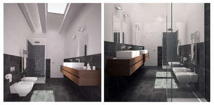 Visualizzazione 3D - bagno: Bagno in stile in stile Minimalista di Studio Atelier di Silvana Barbato