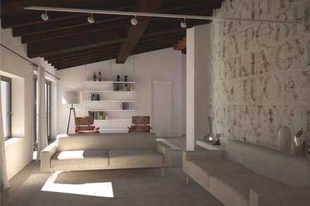 Visualizzazione 3D - soggiorno: Soggiorno in stile in stile Moderno di Silvana Barbato, StudioAtelier
