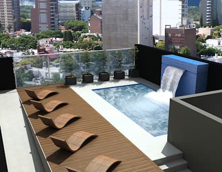 Amenites (Terraza - Pileta): Piletas de estilo moderno por Arcadia Arquitectura