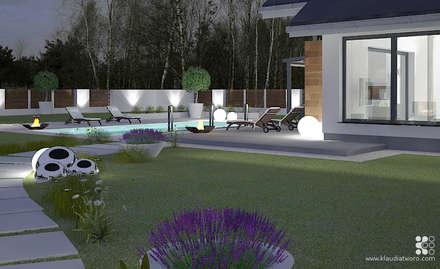Basen w sąsiedztwie tarasu - betonowy szyk: styl , w kategorii Basen zaprojektowany przez Klaudia Tworo Projektowanie Wnętrz
