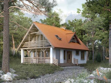 Wizualizacja projektu domu Takt 5: styl wiejskie, w kategorii Domy zaprojektowany przez BIURO PROJEKTOWE MTM STYL