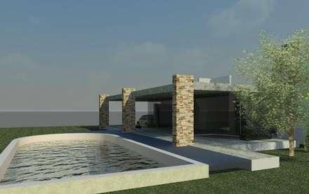 CASA MAJR: Salas / recibidores de estilo  por Patricio Galland Arquitectura