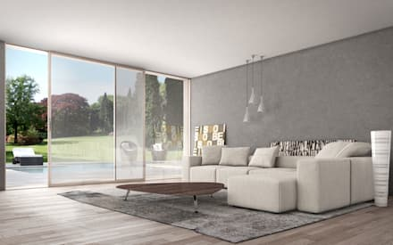 Vetrate scorrevoli minimal: Finestre in stile  di Wa.lor. S.a.s. di Dalla Costa Massimiliano & C.