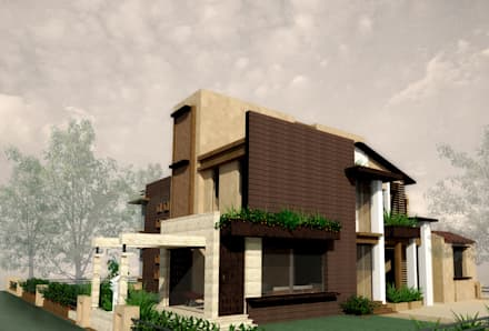 Exterior 3D View: eclectic Houses by Chaukor Studio