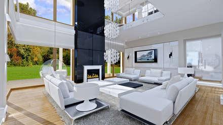 Dom z widokiem: styl , w kategorii Salon zaprojektowany przez MG Projekt Projekty Domów