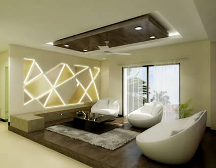 greater kailash residence modern living room by the brick studio - Living Room Interior Design Ideas