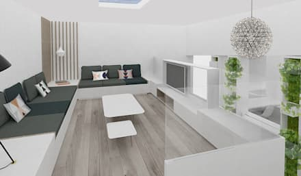 Mezzanine - coin TV pour les enfants: Salle multimédia de style  par Yeme + Saunier