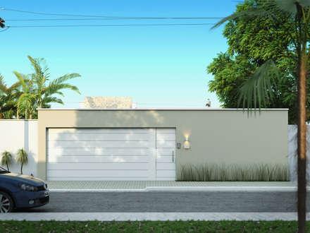 Muro frontal: Casas modernas por Mariana Domingues Arquitetura e Interiores
